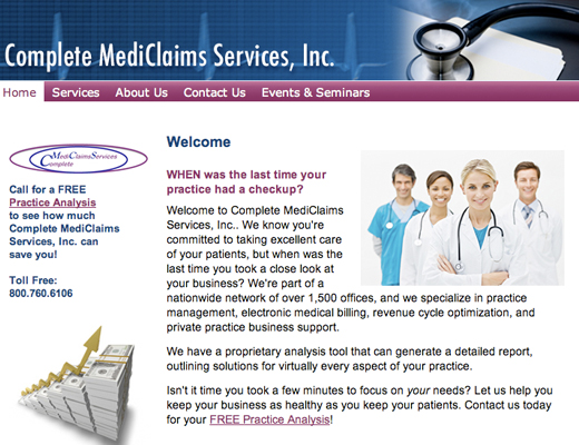 Complete MediClaims Services Website