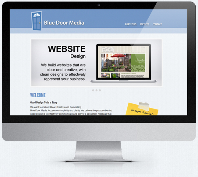 Blue Door Media Responsive website on monitor